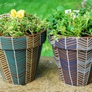 Mother's Day Herringbone Flower Pots with Painters Paint Markers