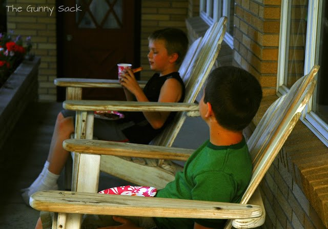 boys on front porch