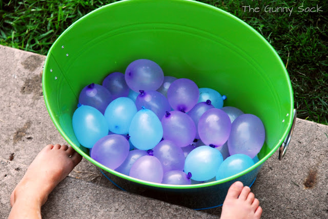 water balloons in bucket