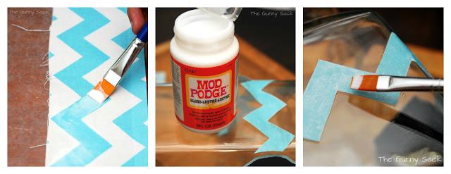 decoupage stripe on drink dispenser