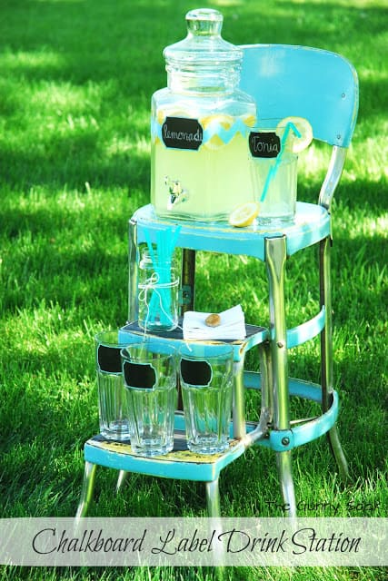 lemonade and cups on stool