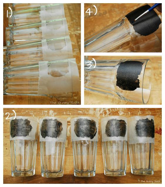 chalkboard paint labels on glasses