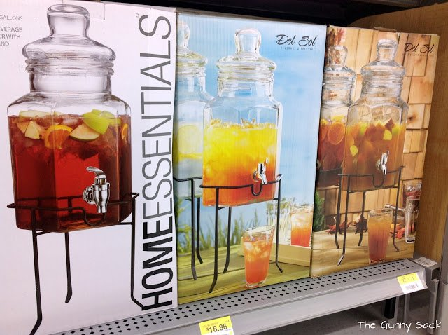 glass drink dispensers at store