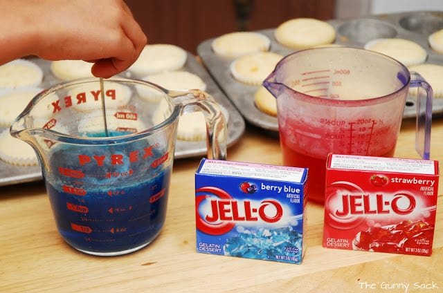 red and blue Jello