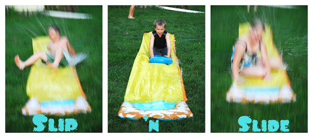 kids on a slip and slide