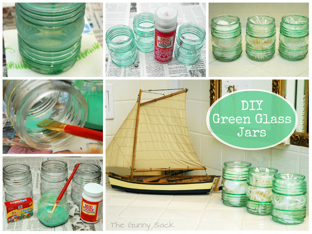 painted green glass jars