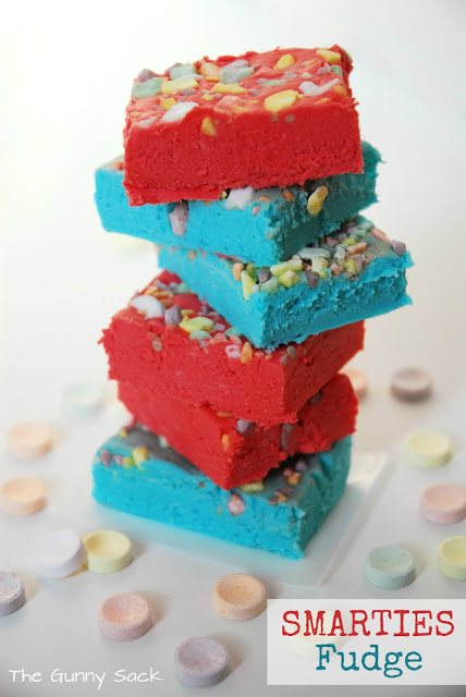 smarties fudge stack