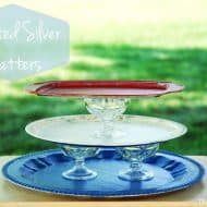 Painted Silver Platters & Tiered Cake Stand