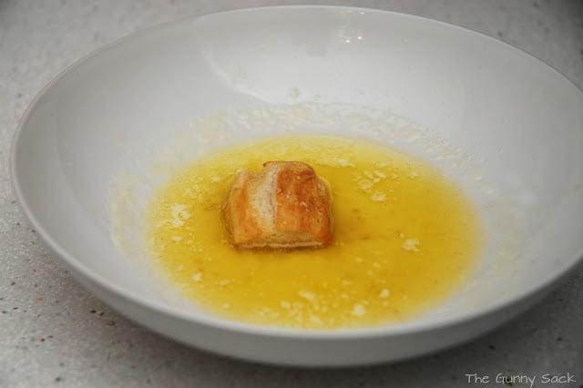 pretzel nugget in melted butter