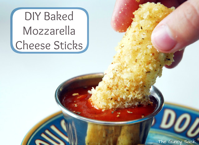 dip mozzarella stick in sauce