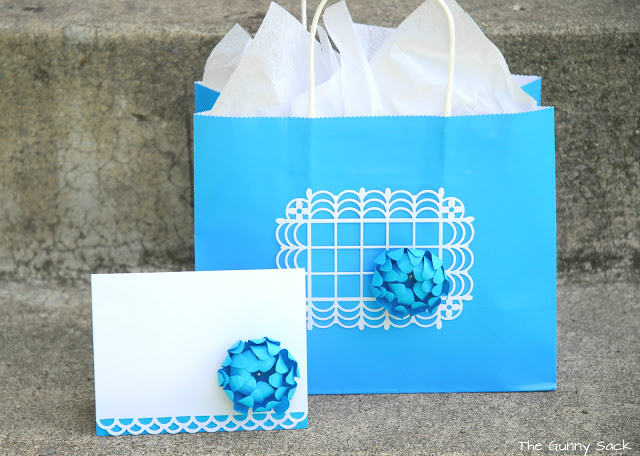 paper gift bag and card with flower
