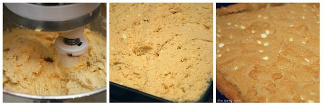 preparing white chocolate chip cookie bars