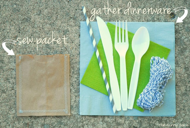 sewn packets and dinnerware