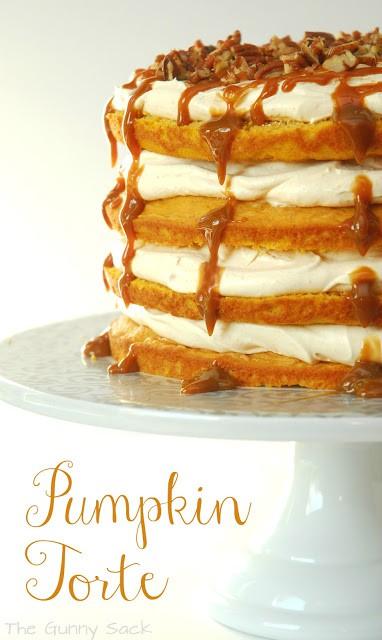 pumpkin torte on cake platter