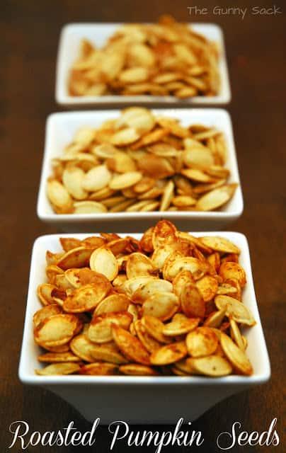 roasted pumpkin seeds in bowls