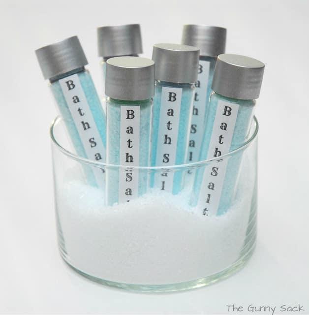 lavender bath salts test tubes in a jar