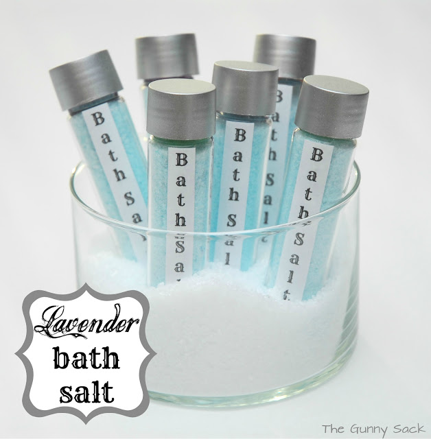 Lavender bath salts in test tubes