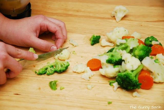 slice cooked veggies