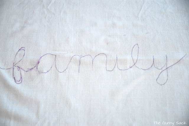 handwritten family on fabric