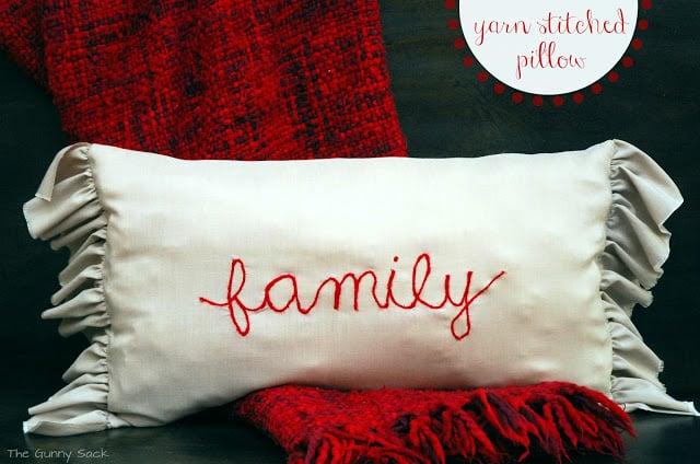 yarn stitched pillow