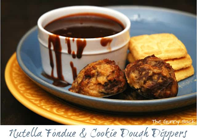 nutella fondue and cookie dough dippers on plate