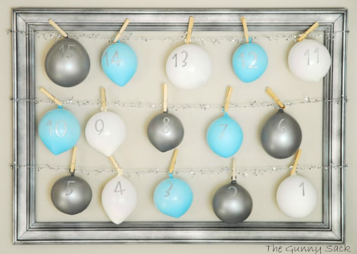 balloons with numbers hanging in frame