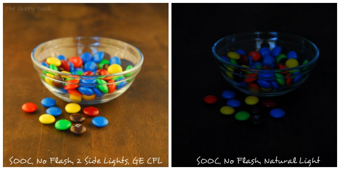 two bowls of M&M with different lighting