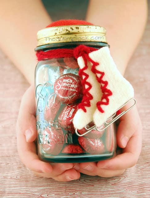 felt ice skates on a mason jar