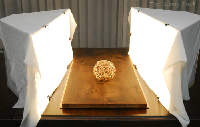 two softboxes with lights on