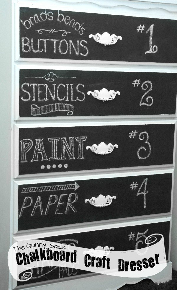 Chalkboard Art Craft Storage Dresser