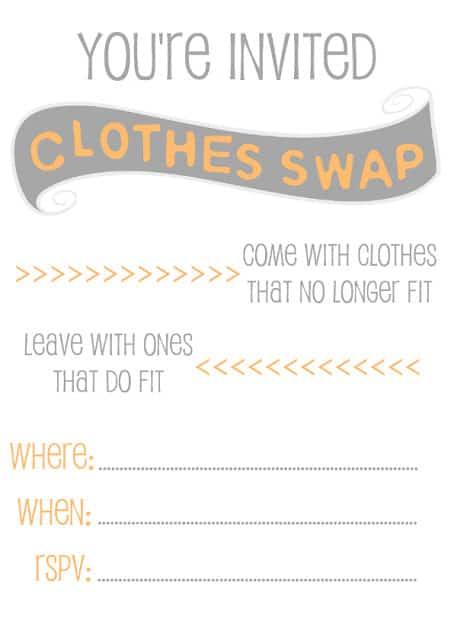 Clothes Swap Invitation Free Printable