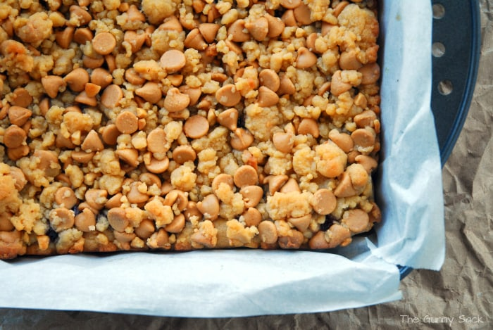 Peanut Butter & Grape Jelly Bars In Pan