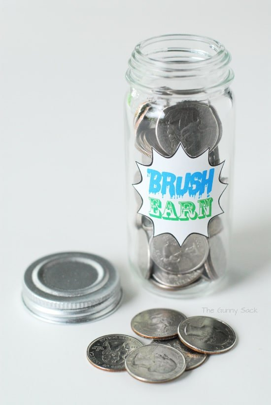 Brush Earn Quarters Jar