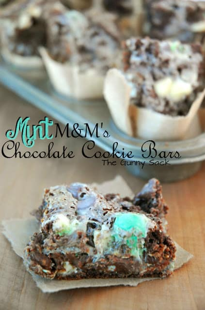 Mint M&M's Chocolate Cookie Bars