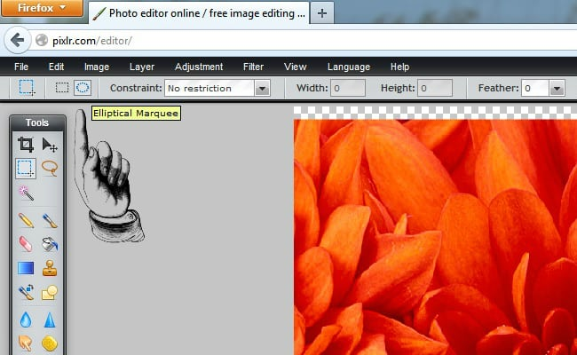Pixlr Tutorial Elliptical Marquee