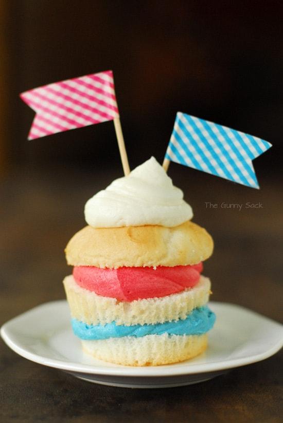 Red White Blue Layered Cupcake
