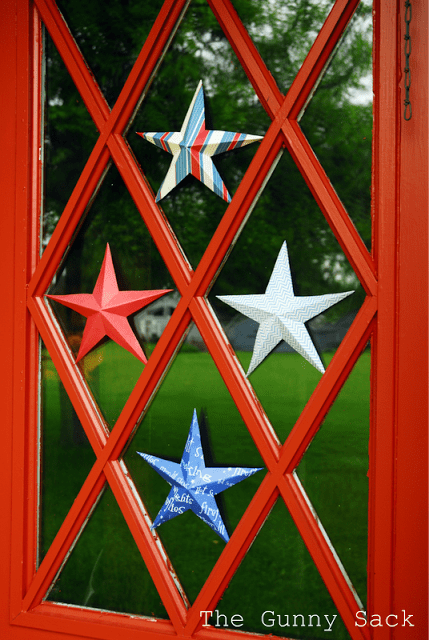 red door with stars
