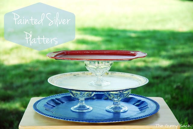 painted silver platters