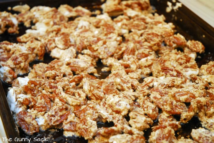 stir sugared pecans