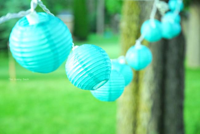 Aqua Paper Lantern Lights