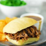 Slow Cooker Pot Roast French Dip Sandwiches