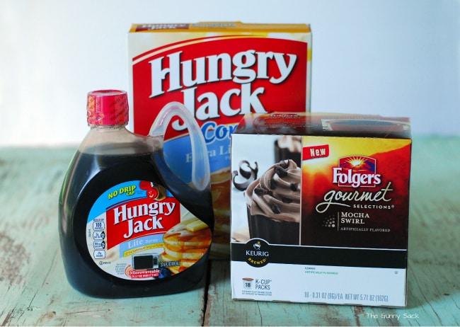 syrup pancake mix and coffee