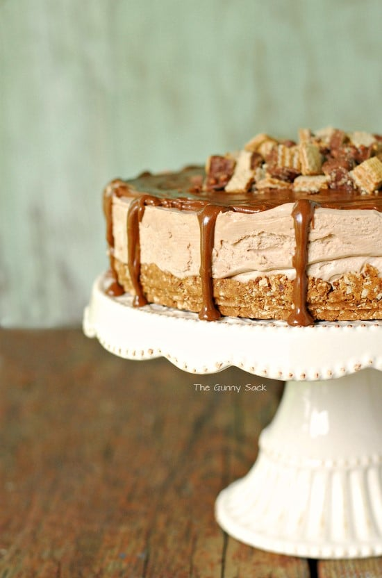 Peanut Butter Silk Pie on a white cake platter