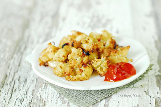 roasted cauliflower on plate with ketchup