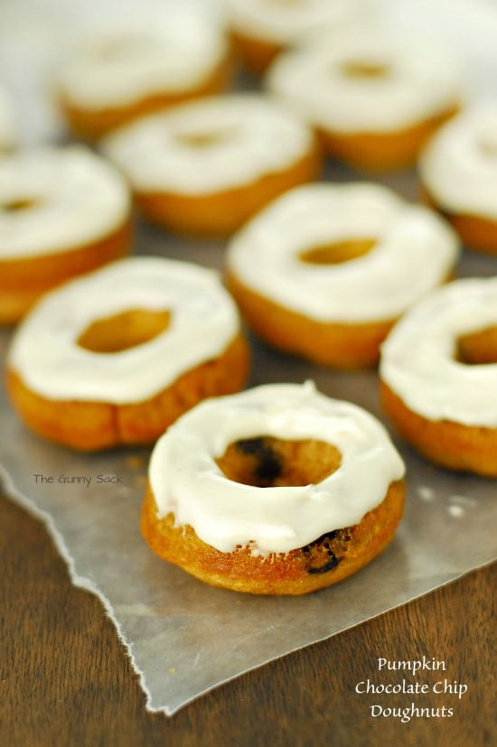 Baked Pumpkin Chocolate Chip Doughnuts