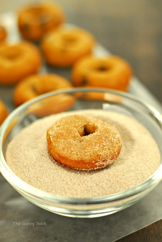 Dip in a mixture of sugar, cinnamon, ginger and nutmeg.
