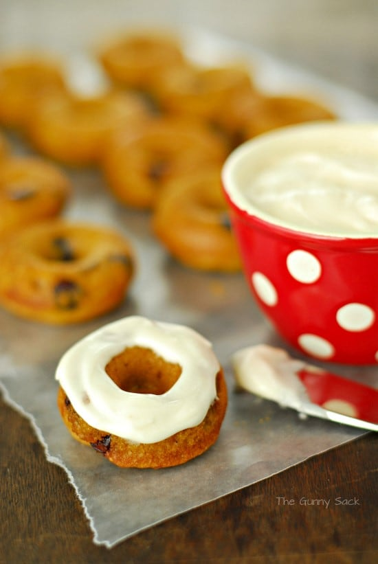 Baked Pumpkin Donuts With Cream Cheese Maple Icing Recipe — Dishmaps