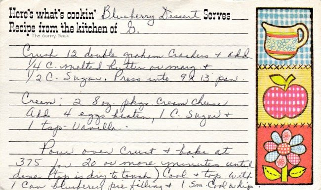 Blueberry Dessert Recipe Card From The Gunny Sack