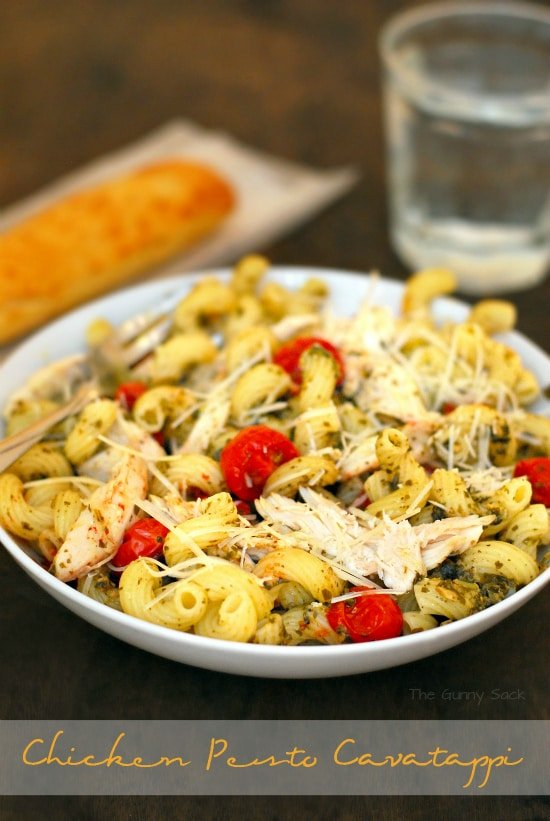 Chicken Pesto Cavatappi in bowl
