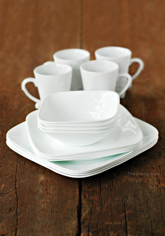 Corelle White Square Dish Set